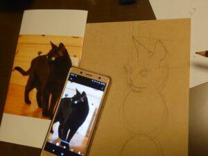黒猫ハナブサ(英)ちゃんを描く✍️✨